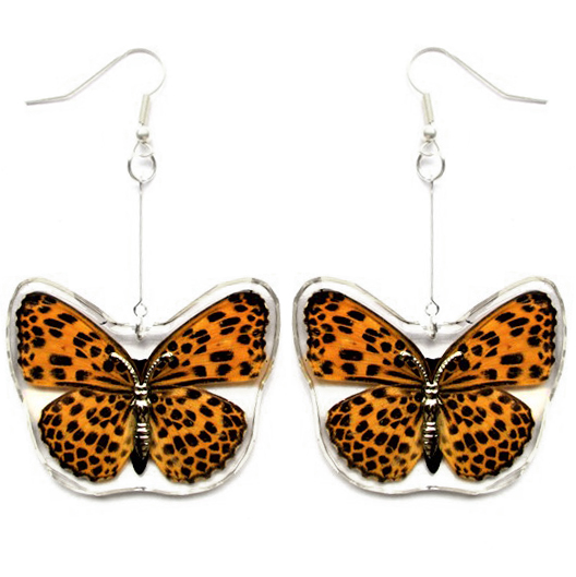 Colorful Butterfly Lampwork Earrings in Black Orange and Yellow